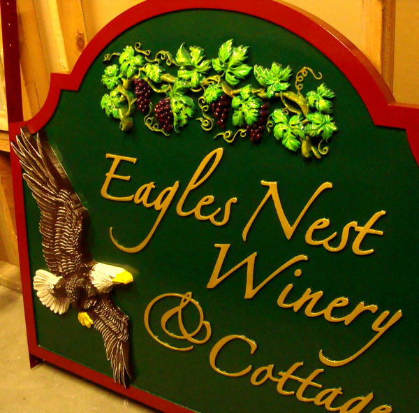 "T29035 - Carved 3-D Sign for"" Eagle'e Nest Winery"" and Cottages, with Bald Eagle on Flight and Grape-Leaf Cluster"