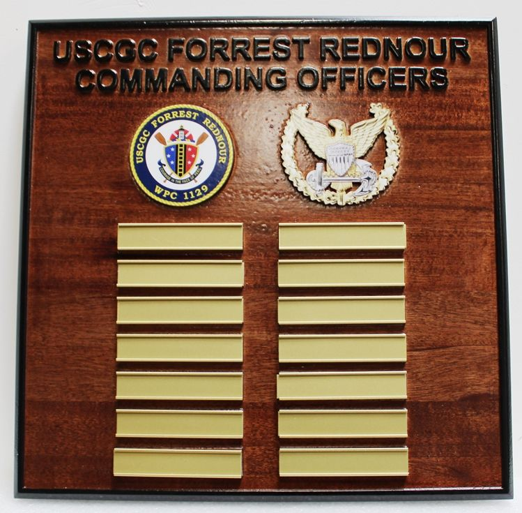 NP-2766 - Carved Mahogany Ship's Command Board for USCGC Cutter, Forest Rednouer, with Brass Plates Engraved with the Names of Previous Commanding Officers