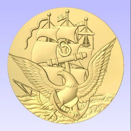 V31220 - Carved Gold-Leaf Gilded US Navy Seal