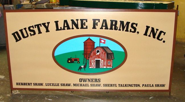 """O24803 - Carved Entrance Sign for """"Dusty Lane Farms"""". with Farmhouse and Barn Scene"""