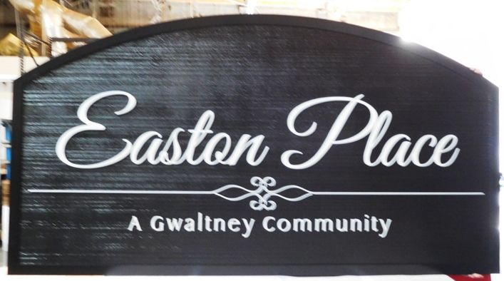 "K20323 -  Carved HDU Sign,  for  the ""Easton Place"" Residential Community, with Wood Grain Sandblasted Background"