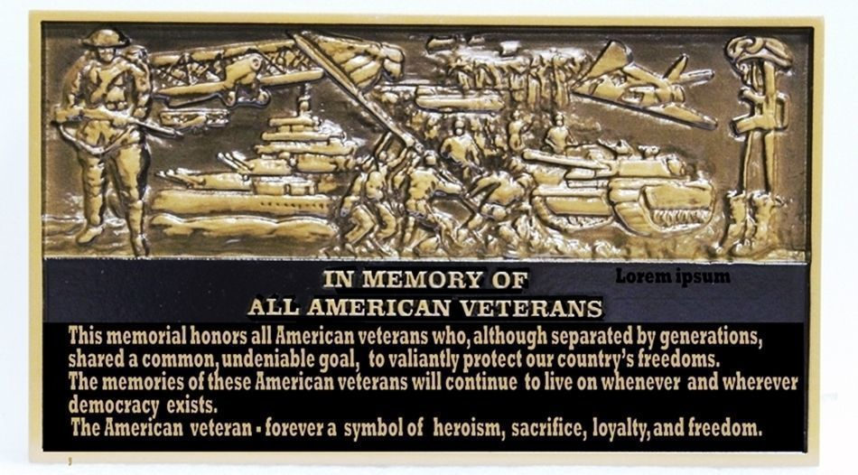 "V31184 -Carved  3-D Brass-Plated HDU Memorial  Plaque for ""All American Veterans"", with Montage of Military  Scenes from Previous US Wars, from WW I to the Present"