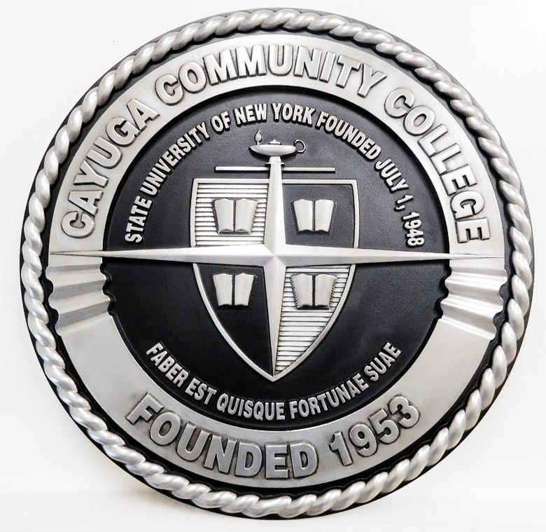 RP-1260- Carved Wall Plaque of  the Seal of the Cayuga Community College,  Aluminum Plated