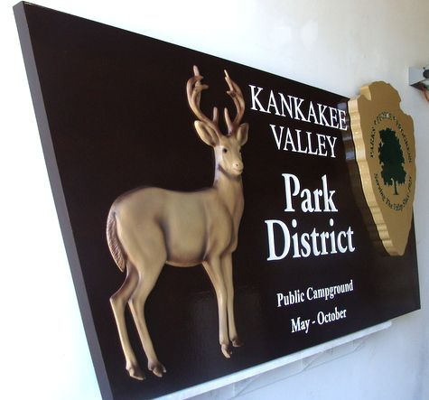 G16209 - Regional Park Wooden Sign, with Carved Deer (Side View)