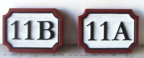 KA20902 - Carved and Sandblasted Wood Apartment Number Plaques