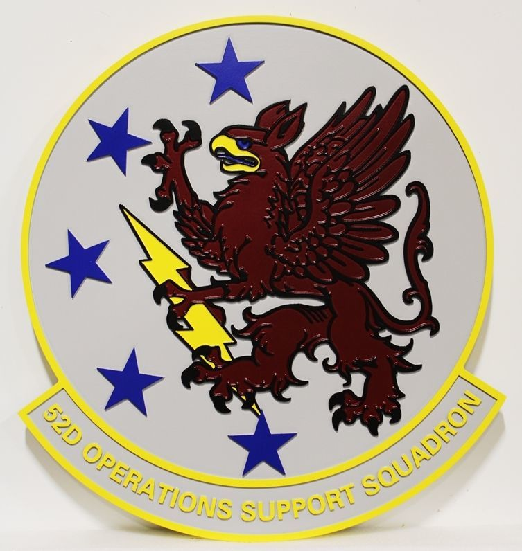 LP-2290 - Carved 2.5-D Plaque of the Crest of the 52nd Operations Support Squadron, US Air Force