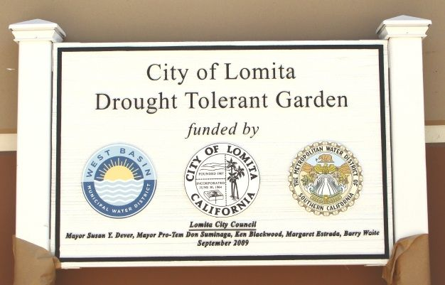 GA16473 - Wooden Post Mounted, Carved  HDU Sign for City of Lomita Drought Tolerant Garden