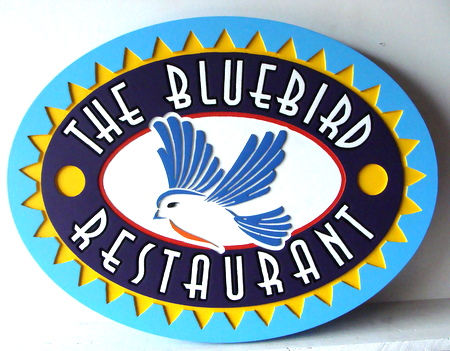 Q25048 - Bluebird Restaurant Carved Wood Sign