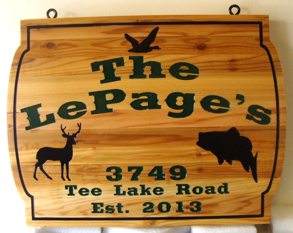 M22014 - Carved Cedar Wooden Residence Sign, with Deer, Fish and Duck