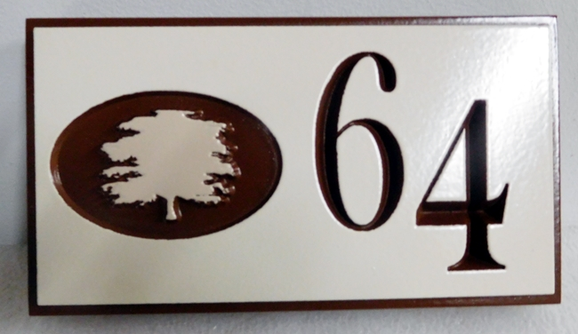 KA20874 - Carved Engraved Unit Number Sign  with Tree Logo, for an Apartment