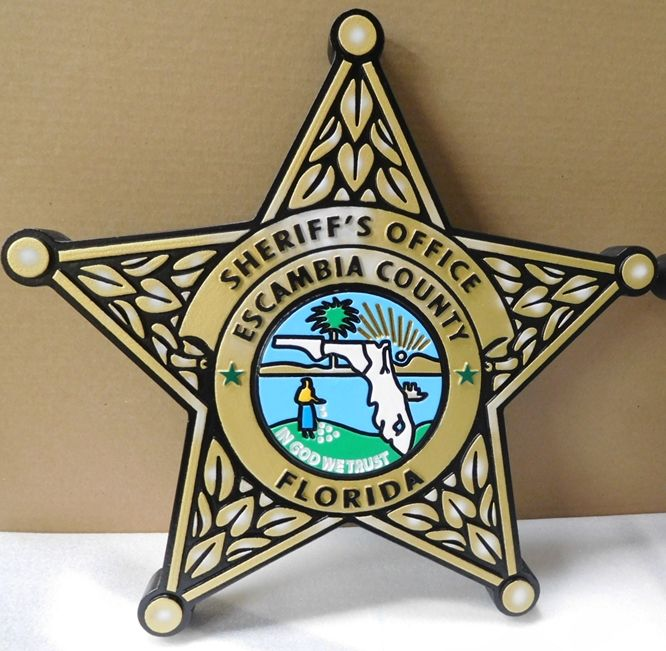 X33695 - Carved 2.5-D HDU Plaque of the Badge of the Sheriff's Office in Escambia County, Florida