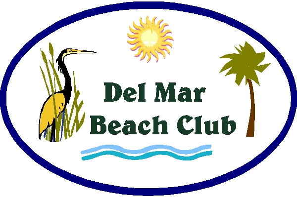 Q25162 - Design of  HDU Sign for Del Mar Beach Club and Restaurant, Sun, Palm Tree and Crane