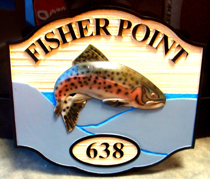 M22556 - Leaping Trout Cottage Address Sign
