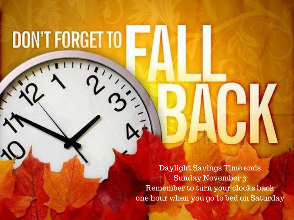 Don't Forget to Turn Your Clocks Back on Saturday Night