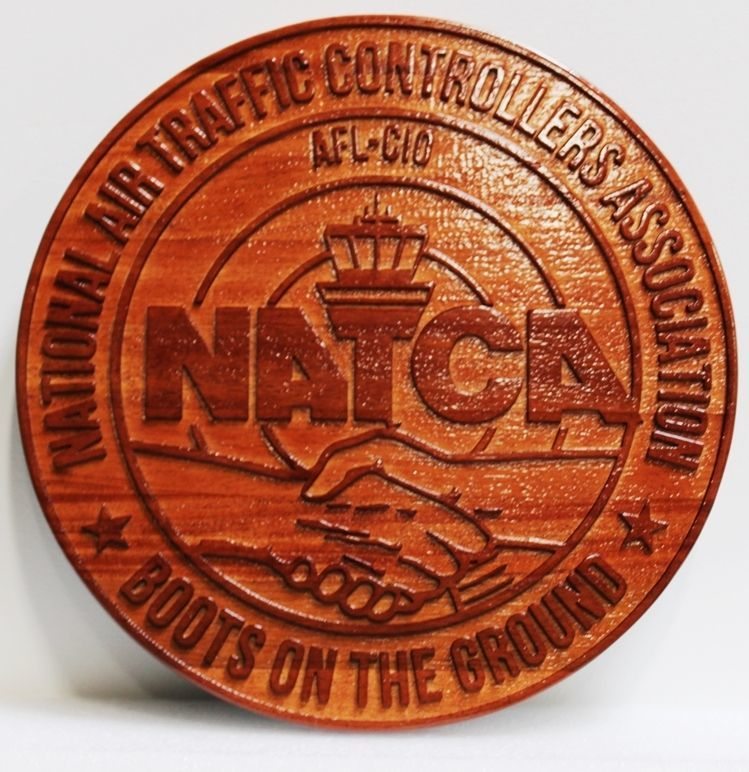 VP-1357 -Carved 2.5-D and Sandblasted Cedar Wood Plaque of the Seal of  the National Air Traffic Controllers Association