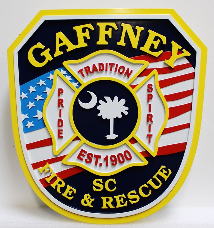 QP-2115 - Carved and Artist-Painted High-Density-Urethane Plaque of  the Shoulder Patch of the Fire & Rescue Department of Gaffney, South Carolina, with the US Flag as Artwork
