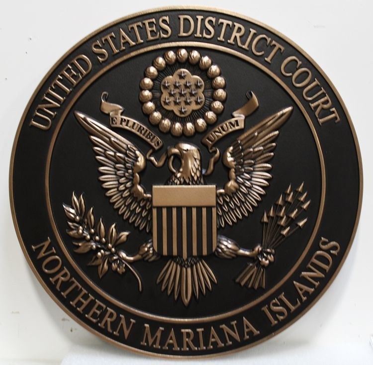 MA1127 - Plaque of the Seal of the United States District Court, Mariana Islands, 3-D bas Relief with Dark Patina Background