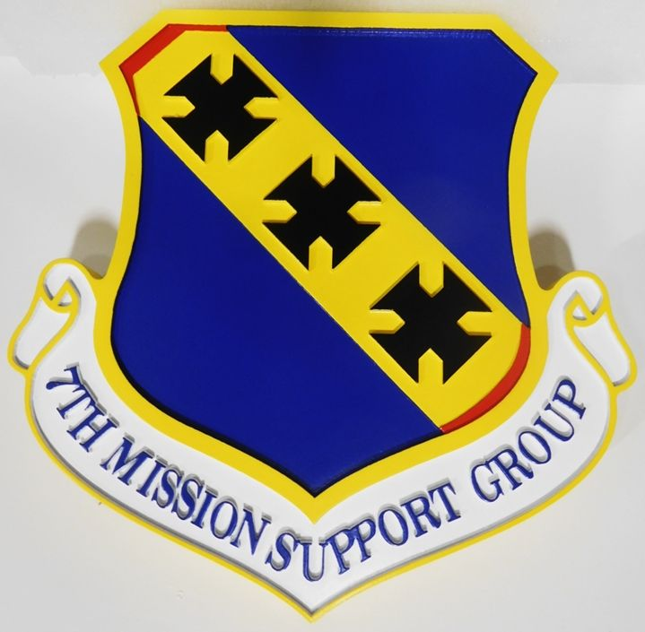 LP-4005 - Carved Plaque of the Shield Crest of the 7th Mission Support  Group, 2.5-D Artist-Painted