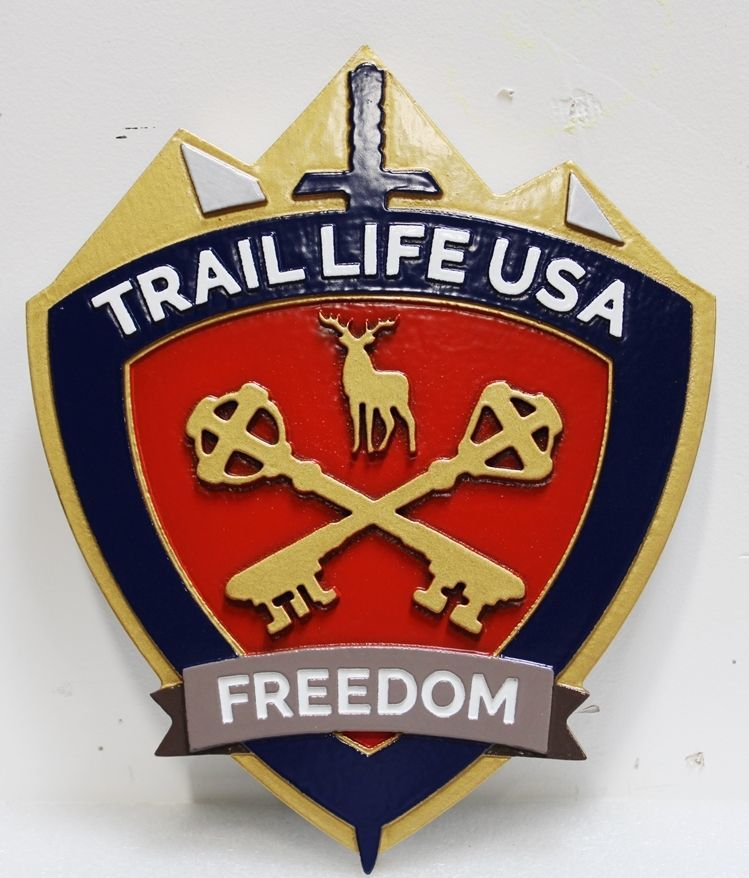 XP-3521 - Carved 2.5-D Raised Relief HDU Plaque of the Trail Life USA Coat-of-Arms, with Deer and Two Keys