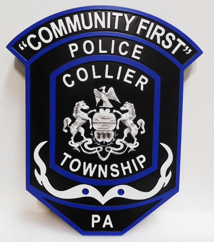 PP-2210 - Carved Plaque of the Shoulder Patch of the Police of Collier Township,  Pennsylvania 3-D Artist-Painted