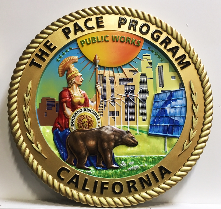 BP-1032 - Carved Plaque of the Seal of the PACE Program for California, 3-D Artist-Painted