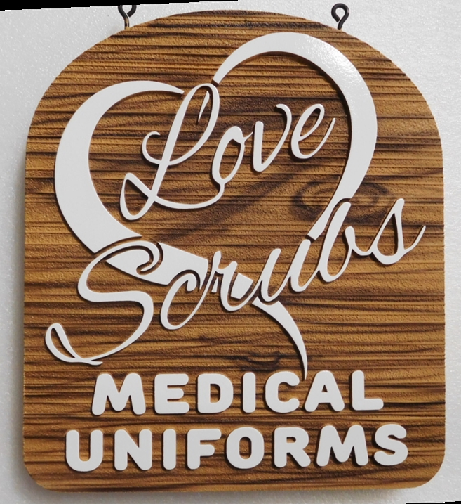 B11097 - Carved Wood Look, HDU Outdoor Sign for Medical Uniform Store.