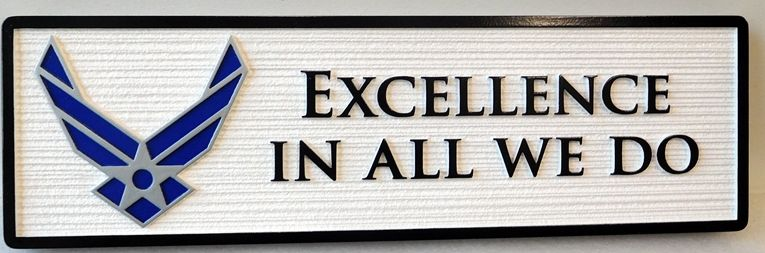"""V31679 - Sandblasted Motto Plaque for US Air Force """"Excellence in All We Do"""" with Air Force Wings"""