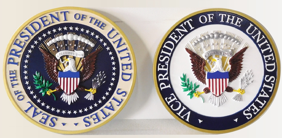 AP-1175-  Carved Plaques of the Seals of the President & VP, United States, Artist Painted