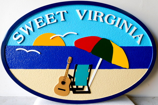 "L21002 - Beach House Name Sign ""Sweet Virginia"" with Two Chairs, Umbrella, and Guitar"