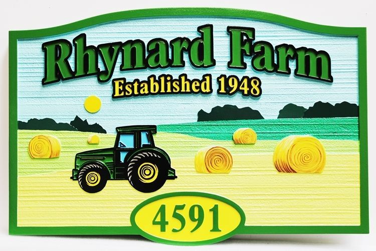 """O24726 - Carved and Sandblasted 2.5-D Multi-level Relief HDU Name and Address Sign for the """"Rhynard Farm"""" featuring a Tractorand Hayfield as Artwork"""