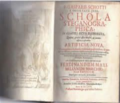 """Gaspar Schott Schola's, """"Steganographica,"""" 1680 edition (first published in 1665) - donated to the NCMF by Dr. David Kahn"""