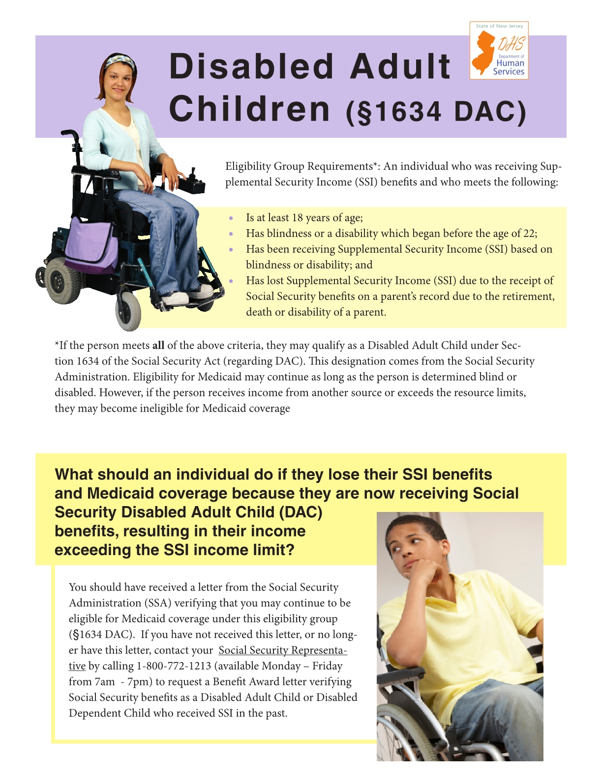 Medicaid 1634 Status: Disabled Adult Children (DAC)