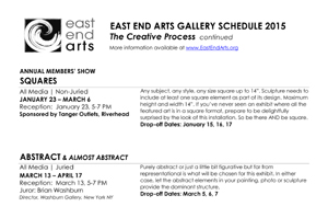 CLICK HERE for a Printable Version of East End Arts 2016 Gallery Schedule >>