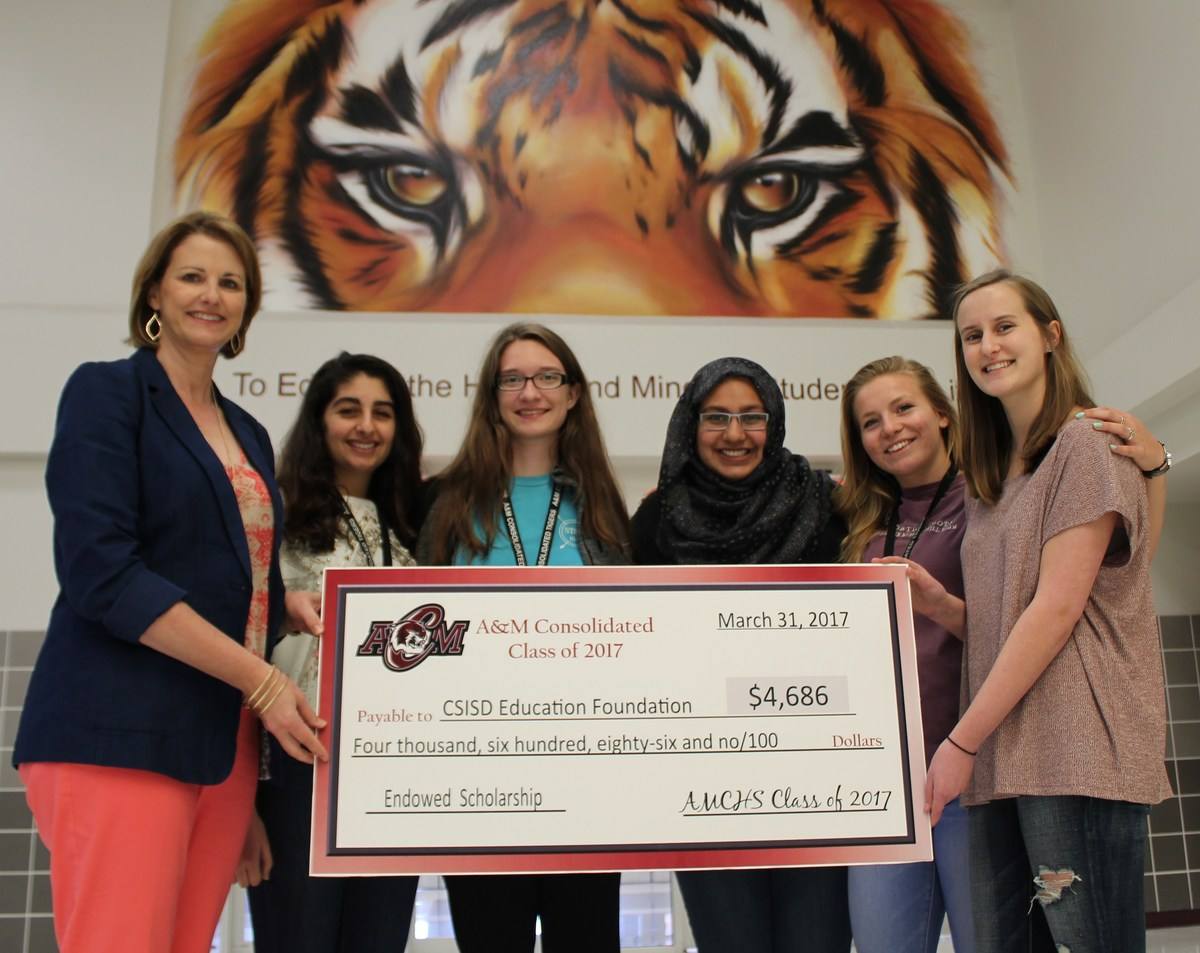 A&M Consolidated High School Class of 2017 presents scholarship gift to CSISD Education Foundation