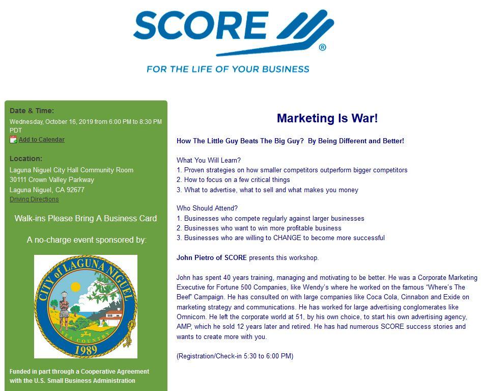 FREE SCORE Business Training