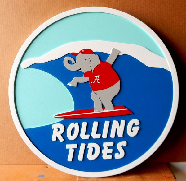 """L21708– Carved 2.5-D HDU Beach House Sign """"Rolling Tides"""", with Elephant Surfer"""
