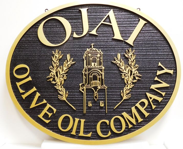 Q25629 - Carved and Sandblasted Wood Grain Sign for the Olive Oil Company, 2.5-D Raised Outline Relief, Artist-Painted with an Italian Church Tower and Olive Branches as Artwork