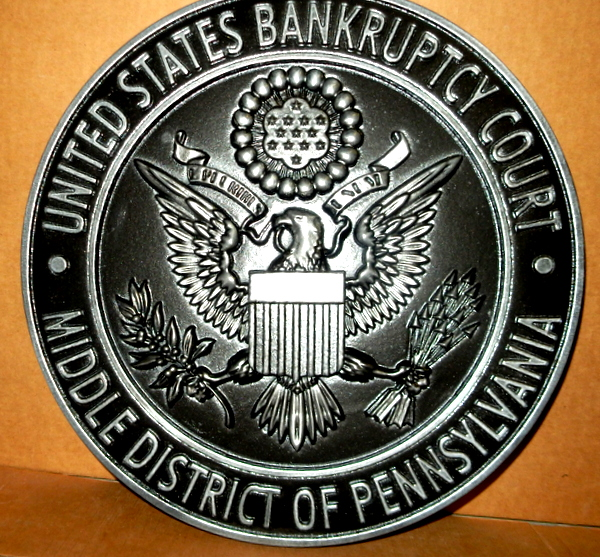 A10825 - Carved 3-D Seal Wall Plaque for US Bankruptcy Court, Aluminum Coated with Dark Patina