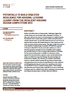 Sheltering Series #5: Potentials to Build Disaster Resilience for Housing: Lessons Learnt from the Resilient Housing Design Competition 2013