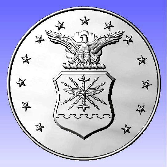 V31512- 3-D Silver-Leaf Gilded Carved Air Force  Seal