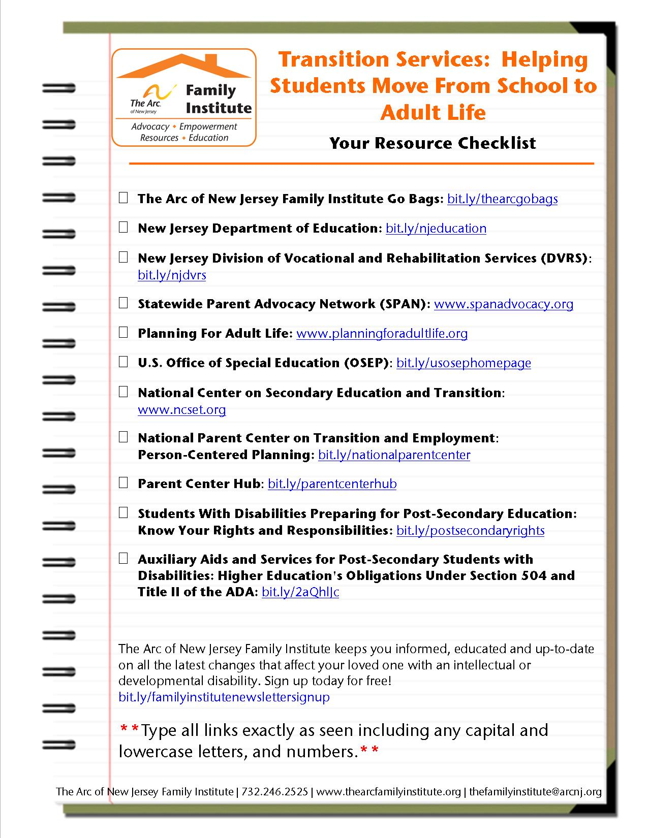 Transition Services:  Helping  Students Move From School to Adult Life - Your Resource Checklist