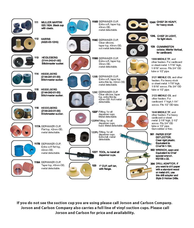 rubber and vinyl suckers, vacuum cups and suction cups for the printing, packaging, baking, collating, mailroom