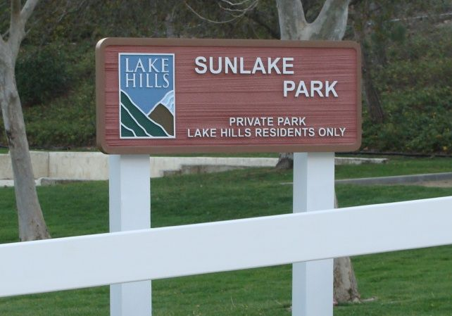 GA16453 - Fenced, Post-Mounted, Carved Redwood, HDU Sign for Park for Private Residential Community