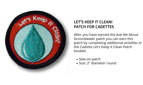 "Cadette ""Let's Keep It Clean"" Patch"