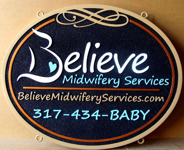 """S28074 - Close-up of Decorative Carved Sign for the """"Believe Midwifery Services"""""""