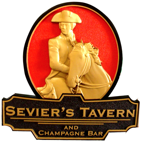 "Y27551 -  Carved  HDU  ""Sevier's Tavern""  Entrance Sign, with Elegant 3D Carving of Sevier Mounted on his Horse"