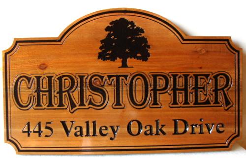 I18924 - Carved Engraved Wood  Property Address Sign