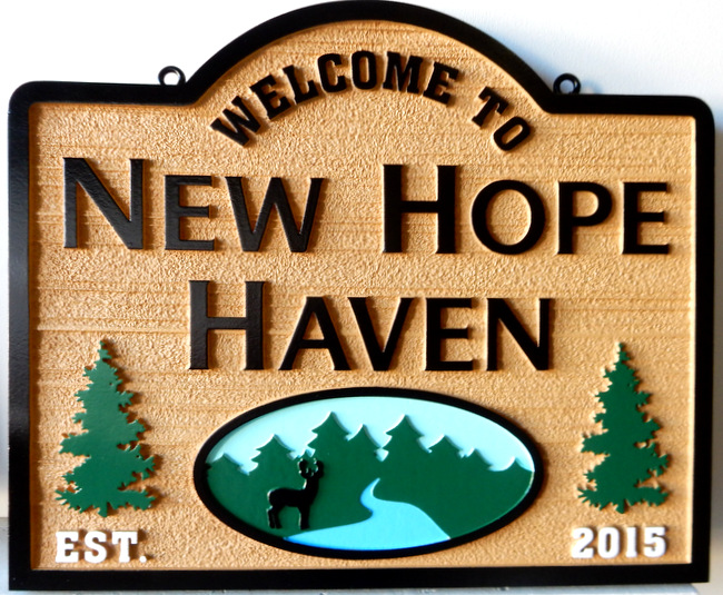 M22330 - Carved Wood Look Welcome Sign to New Hope Haven with Lake, Spruce Trees and Deer