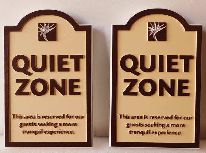 "T29449  - Carved ""Quiet Zone"" Signs  for a Hotel Complex"