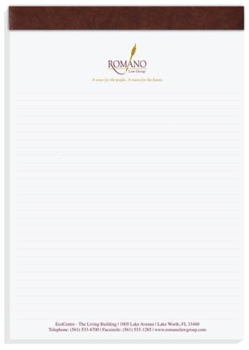 "02 - Note Pad 8.25"" x 11.75"" Two-Color Imprint, with or without calendar and/or lines"